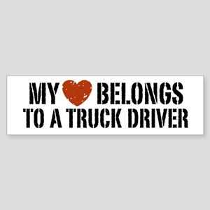 My Heart Belongs to a Truck Driver Sticker (Bumper